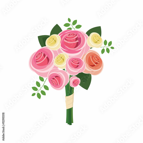 Canvas Print Wedding bouquet of pink roses icon, cartoon style