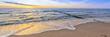 canvas print picture - Urlaub am Meer - Sandstrand und Sonnenuntergang an der Ostseeküste - Banner / Panoroma