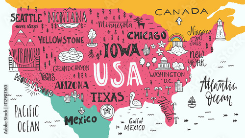 Photo  Map of USA