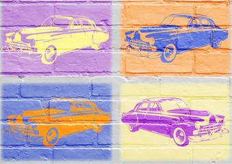 FototapetaArt urbain, voiture américaine vintage inspirée du pop art