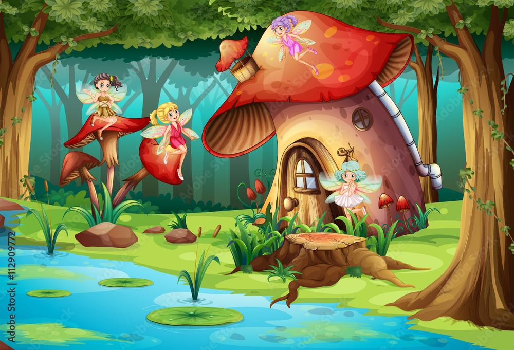 Fototapeta Fairies flying around mushroom house