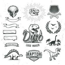 Dino Logo Maker Set. Dinosaur Logotype Creator. Vector T-rex Banner Template. Jurassic Period Laurel Crest Illustration. Shield Insignia Concept Design. Cretaceous World Badge Or Label Collection.
