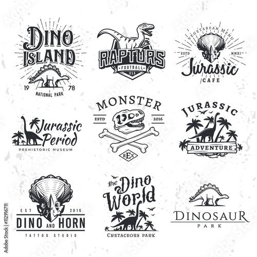 Obraz na plátně  Big Dinosaur Vector Logo Set