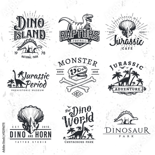 Fototapeta  Big Dinosaur Vector Logo Set