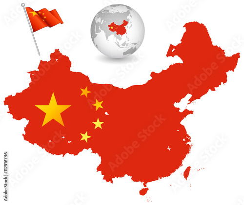Fotografie, Obraz  China Flag vector map Set