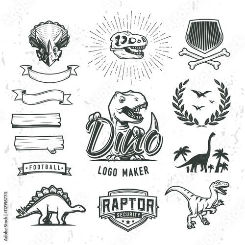 Fotografie, Obraz  Dino logo maker set