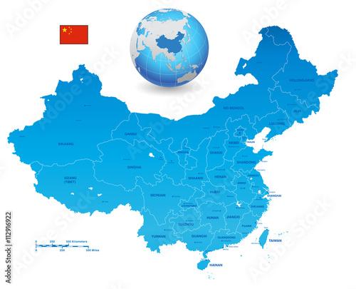 Fotografie, Obraz China Blue vector map Set