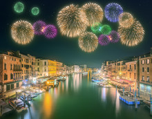 Beautiful Fireworks Under Grand Canal And Buildings In Venice