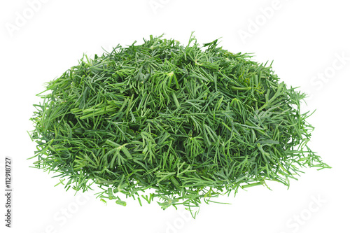 Canvas-taulu Dill herb chopped on white