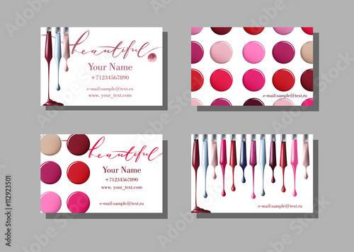 Makeup artist business card vector template with makeup items makeup artist business card vector template with makeup items pattern nail polish fashion and reheart Gallery