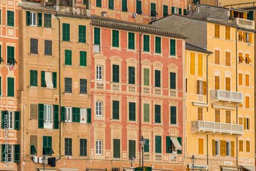 Poster Ligurie Camogli e le sue magnifiche case multicolore in riva al mare, Camogli, Genova, Mar ligure, Italia