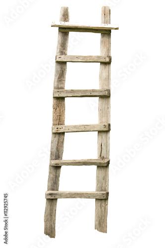 Fototapeta Old wooden ladder isolated on white