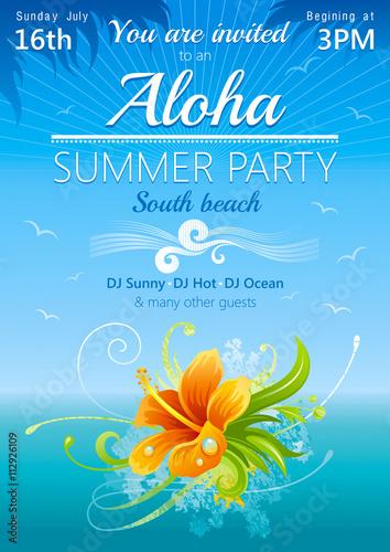 Plakat plażowy na hawajskie przyjęcie z kwiatem hibiskusa