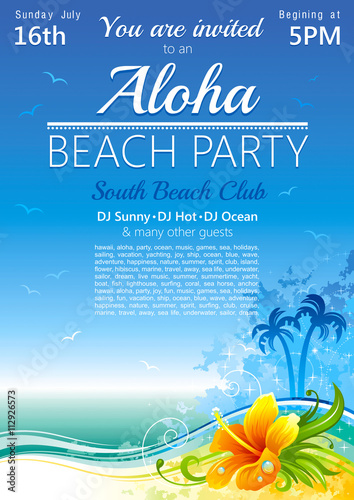 Day beach poster for hawaiian party with hibiscus flower - Buy this