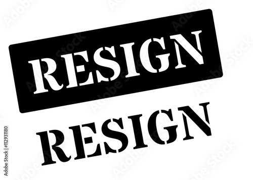 Resign black rubber stamp on white Canvas Print