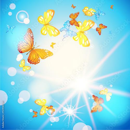 Tuinposter Vlinders Blue sky and butterflies