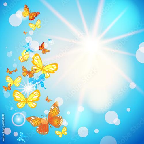 Tuinposter Vlinders Summer sky and butterflies