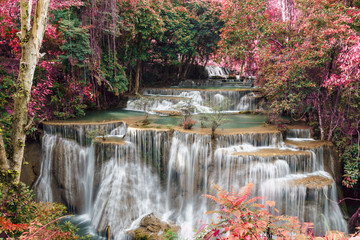 Panel SzklanyWaterfall Huay Mae Kamin beautiful ,with in autumn of forest of Thailand
