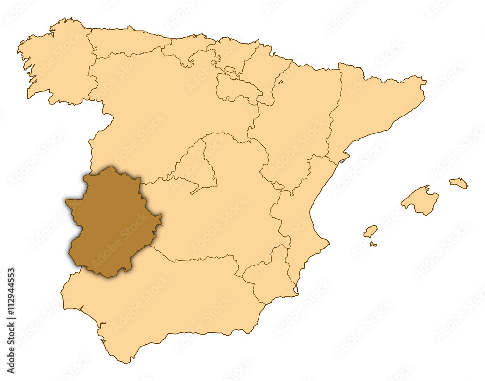 Map Of Spain For Printing.Photo Art Print Map Spain Extremadura Europosters