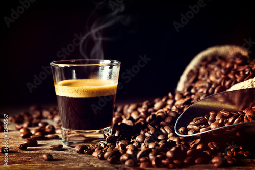 Photo  espresso and coffee grain
