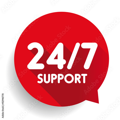Fotografiet  Blue 24/7 Support button