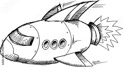 Door stickers Cartoon draw Spaceship Rocket Doodle Sketch Vector