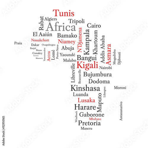 Shape Of Africa Map.Word Cloud In A Shape Of Continent Contains All African Capitals