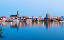 Night Panorama View To Rostock. River Warnow And City Port.