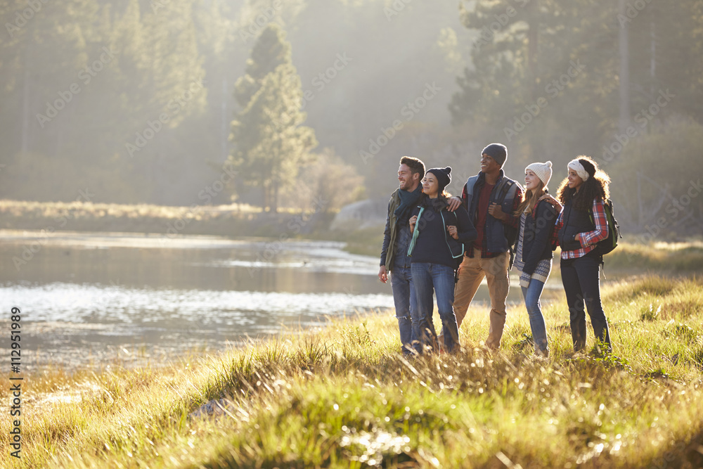 Five friends walking near a lake stop to take in the view