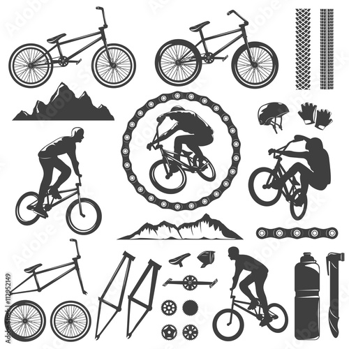 BMX Decorative Graphic Icons Set Canvas Print