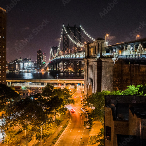 Manhattan Bridge at night, Manhattan, New York, USA