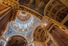 Interior Of St. Isaac's Orthodox Cathedral In Saint Petersburg,