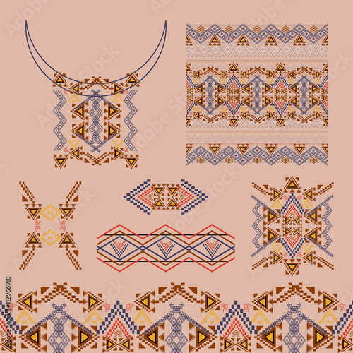 Foto auf AluDibond Boho-Stil Vector set of decorative elements for design and fashion in ethnic tribal style. Neckline, borders, patterns and seamless texture