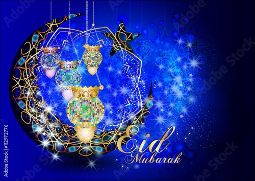 Eid Mubarak Muslim Islamic Holiday Colorful Eid Fanous Lanterns