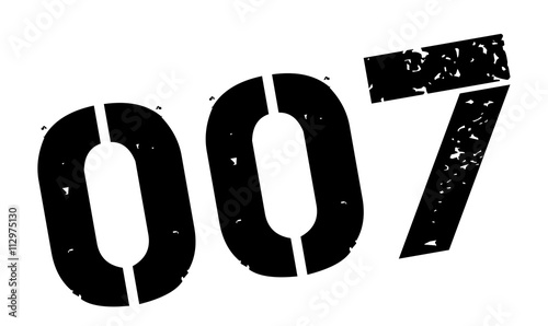 Photo  Zero zero seven black rubber stamp on white