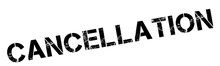 Cancellation Black Rubber Stamp On White