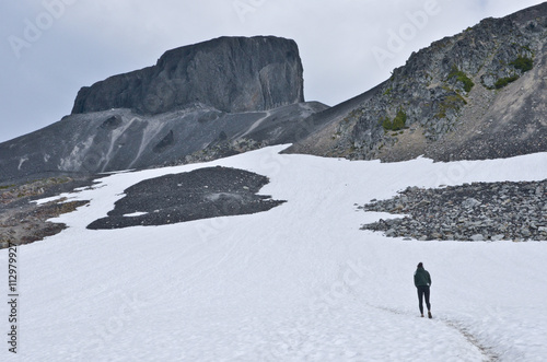 A hiker on Black Tusk, Garibaldi Park, British Columbia, Canada