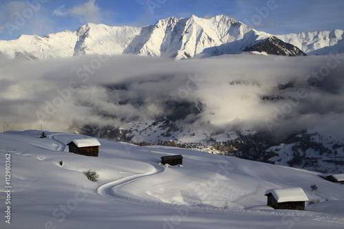 Winter chalets on mountain