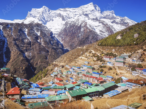 Wall Murals Nepal Namche Bazaar village on the way to Everest Base Camp in the Khumbu Region of Nepal.