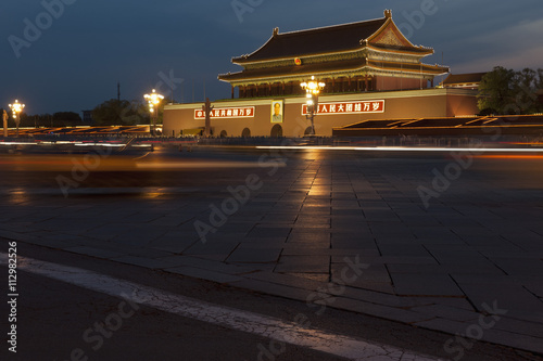 Peking Moving traffic at the Gate of heavenly peace in Tiananmen Square, Beijing, China