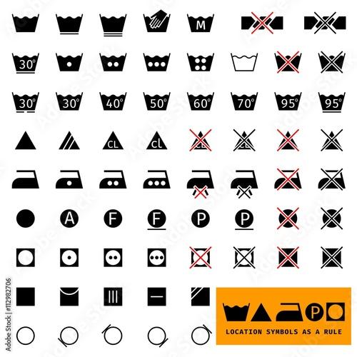 Icon Set Symbols Icon For Washing Laundry Ironing Clothing