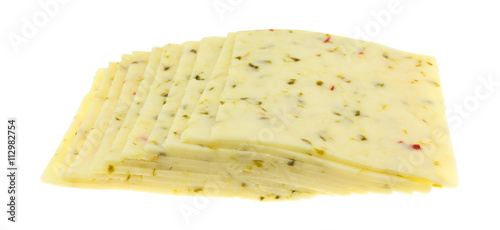 Recess Fitting Dairy products Several slices of pepper jack cheese side view isolated on a white background.