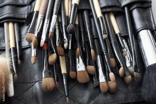 Detail of a professional make-up brush set
