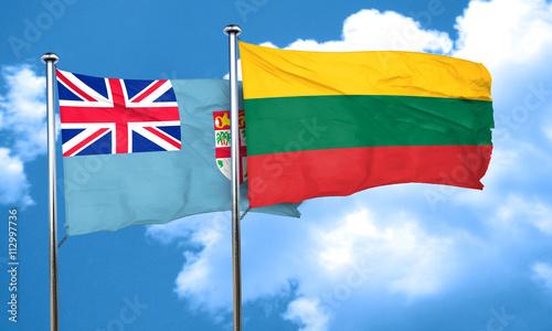 Foto op Aluminium Scandinavië Fiji flag with Lithuania flag, 3D rendering
