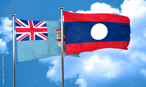 Papiers peints Scandinavie Fiji flag with Laos flag, 3D rendering