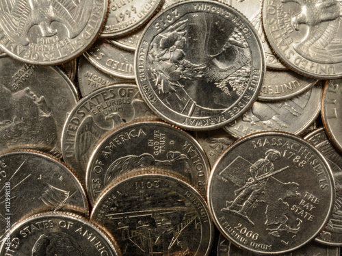 Valokuva  United States Coins quarters in a pile thrift savings