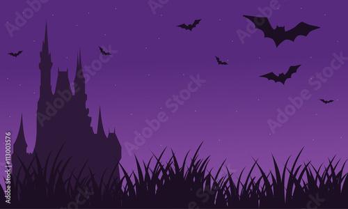 Papiers peints Violet Silhouette of castle and bat twilight Halloween
