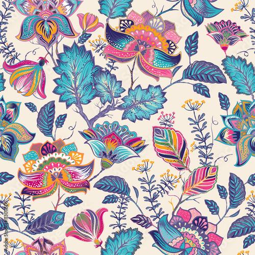 Obraz na plátně Bright seamless pattern in paisley style