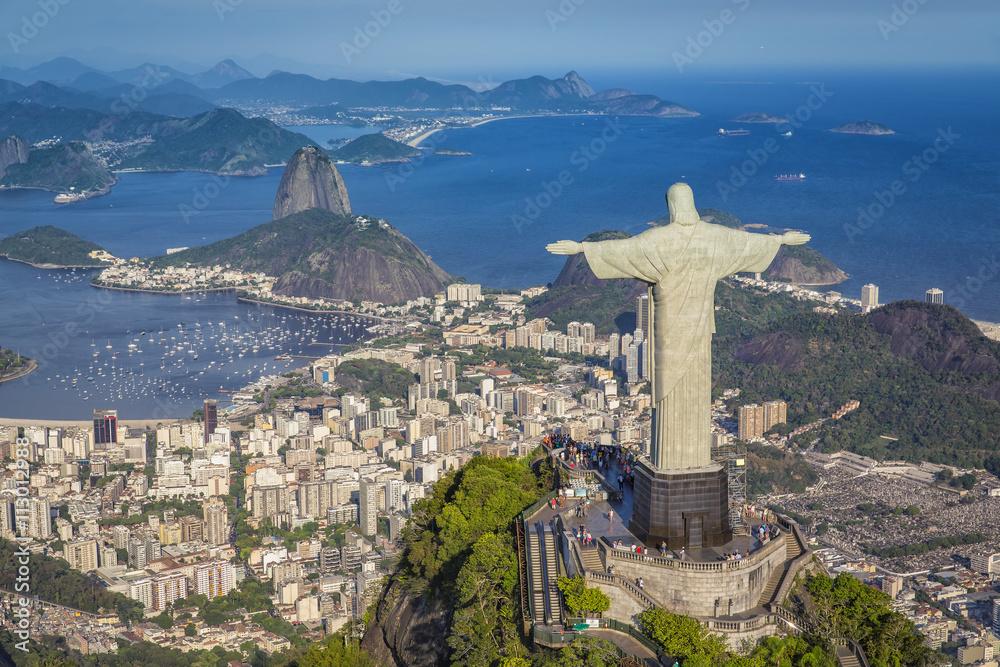 Láminas Panorámica aérea de la Bahía de Botafogo y el Pan de Azúcar ...