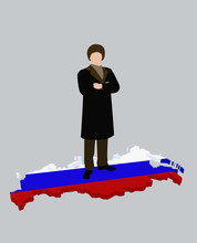 Stereotypical Russian Man Standing On A Russian Flag In The Shape Of Russia